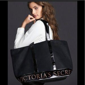 Victoria's Secret Black Mesh Duffle Tote Bag NWT